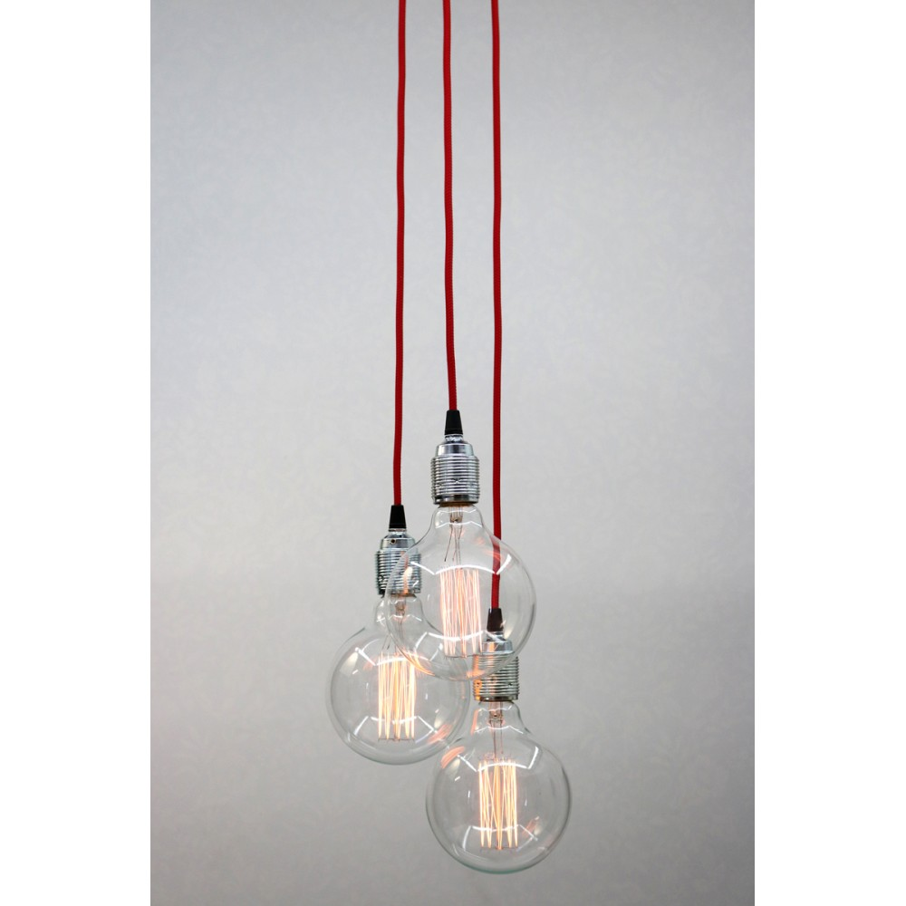 Gerard lamy suspension triple rouge for Luminaire triple suspension