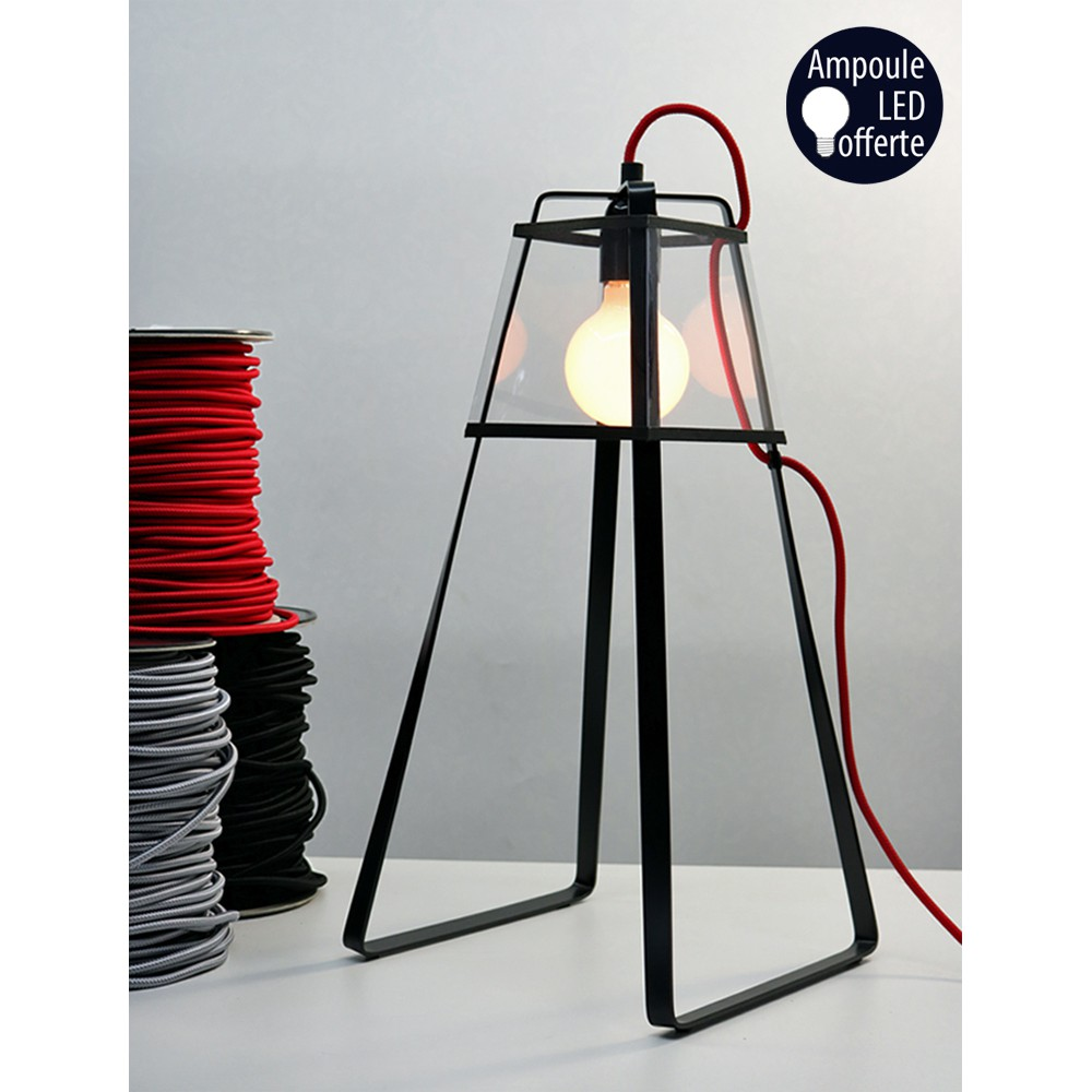 lampe lu2 cable textile rouge. Black Bedroom Furniture Sets. Home Design Ideas