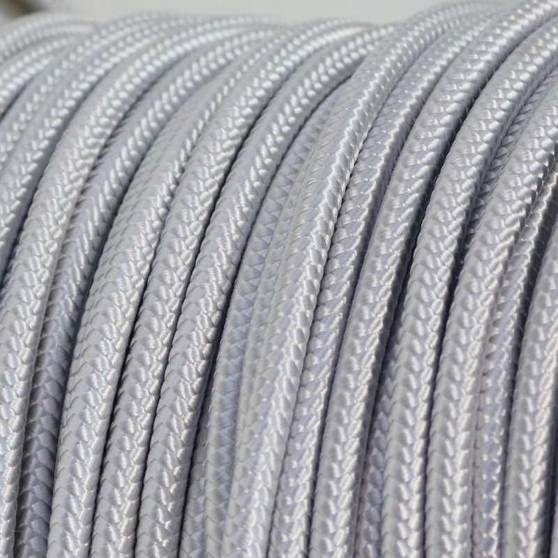 Câble électrique Textile Blanc Argenté