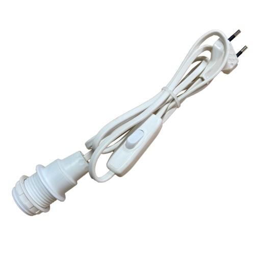 CABLE PVC BLANC AVEC INTER, FICHE ET DOUILLE E14