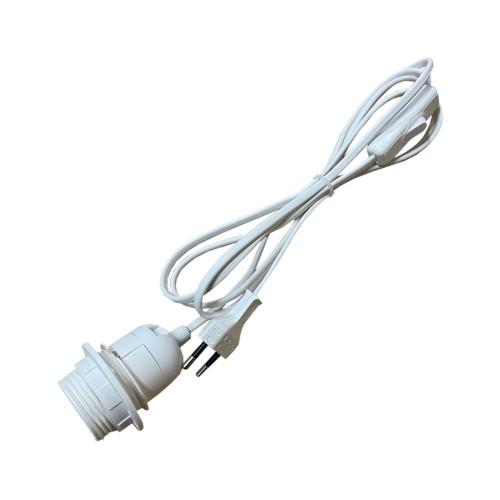 CABLE PVC BLANC AVEC INTER, FICHE ET DOUILLE E27