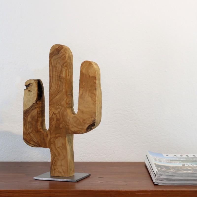 CACTUS DECORATIF PETIT MODELE EN BOIS OLIVIER