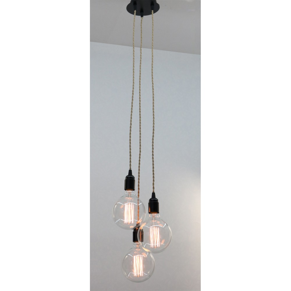 Suspension grappe triple ficelle for Luminaire triple suspension